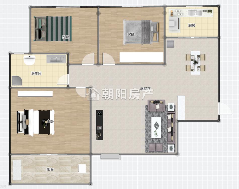 玺园小区3室2厅1卫114.05平方2000元/月
