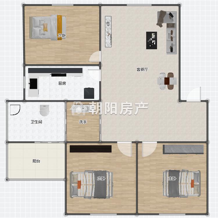华声嘉苑3室2厅1卫107.91平方1600元/月
