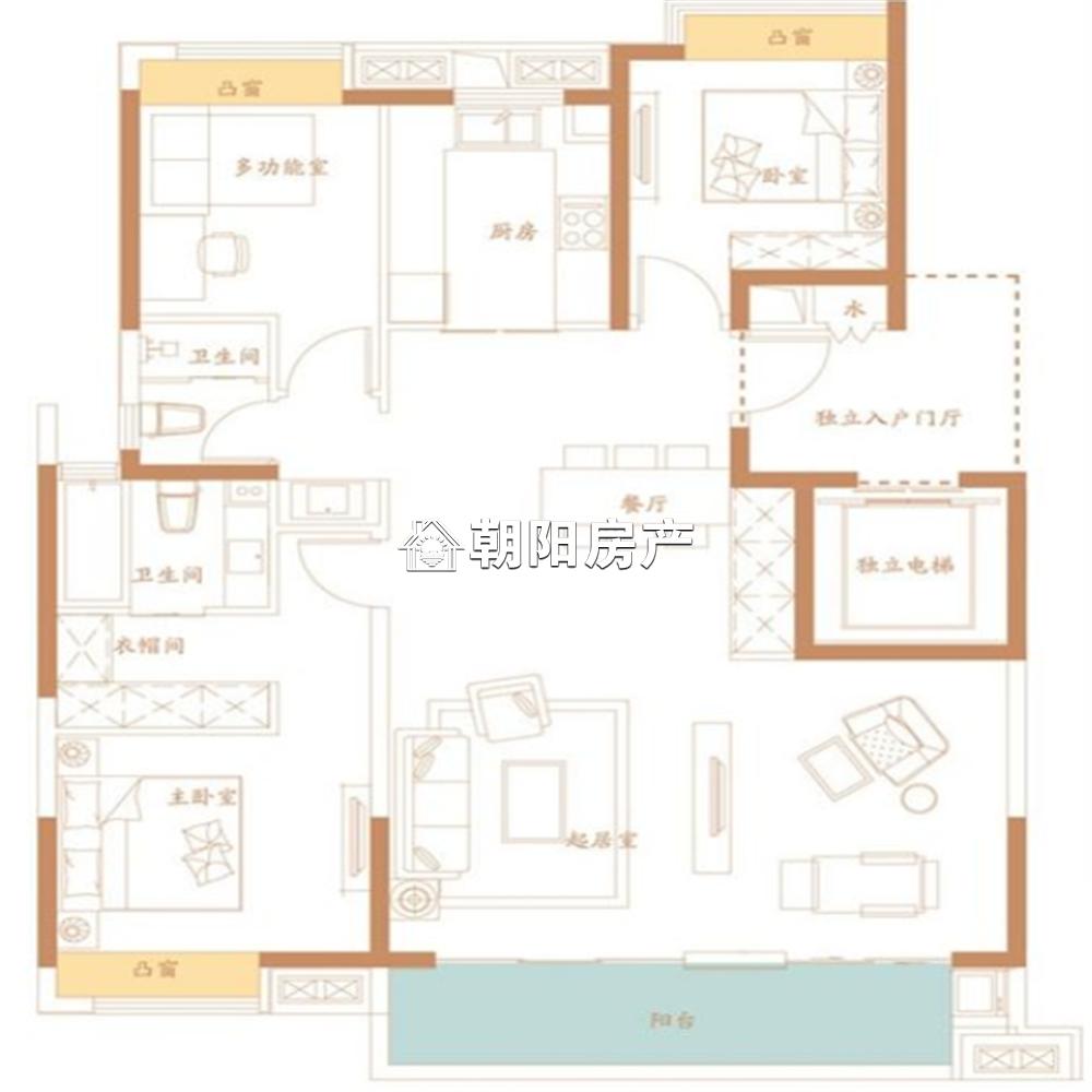 万创御香山3室2厅1卫135.48平方165.00万